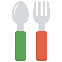 fork and spoon, kids cutlery, kids eating set, plastic spoon and fork, toddler utensils icon