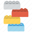 blocks, building blocks, building bricks, plastic blocks, toy blocks icon