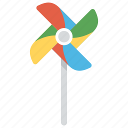 colorful toy, pinwheel, turbine toy, wind toy, wind turbine icon