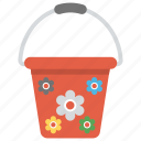 bucket, colorful bucket, girl bucket, pail, red bucket plastic bucket icon