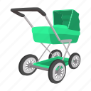 baby, birth, cartoon, green, newborn, nobody, stroller