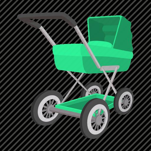 baby, birth, cartoon, green, newborn, nobody, stroller icon