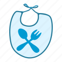 baby, bib, cartoon, clothing, fork, meal, spoon icon