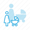 baby, child, children, pram, woman icon