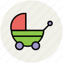 baby buggy, baby carriage, baby cart, baby transport, carriage, perambulator, pram, retro, stroller icon