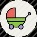baby buggy, baby carriage, baby cart, baby transport, carriage, perambulator, pram, retro, stroller icon
