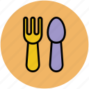 baby, fork, plastic, spoon, two objects icon