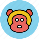 animal, cartoon, face, monkey icon
