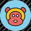 animal, cartoon, face, monkey icon