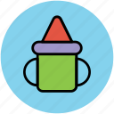 baby, baby cup, container, handle, sippy cup icon