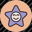 cartoon, cheerful, happy star, little star, smiling star, star shape icon