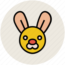 animal, cartoon face, cartoon rabbit, face, rabbit, rabbit face icon