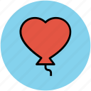 balloon, decoration, fun, happiness, heart balloon, heart shape, red icon