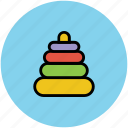 childhood, entertainment, fun, game, kids, playing, preschool, rings, stacking, throw icon