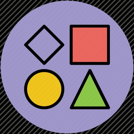 circle, diamond, shapes, square, triangle icon