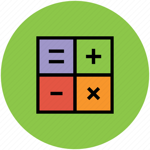 equal, mathometicales, minus, multiply, plus, signs icon