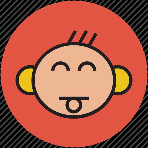 baby, baby face, cartoon, face, tongue icon