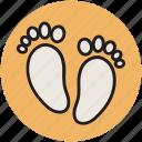 baby, feet, foot prints, foot steps, human feet icon