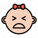 angry, baby, emotion, face, girl, newborn icon