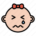 baby, cry, expression, face, girl, sad icon