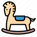 baby, kid, play, rocking horse, toy icon