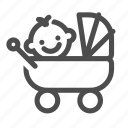 baby, baby stroller, buggy, newborn, pram, stroller icon