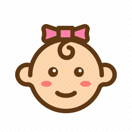 baby, babyface, color, face, girls, newborn, ribbon icon