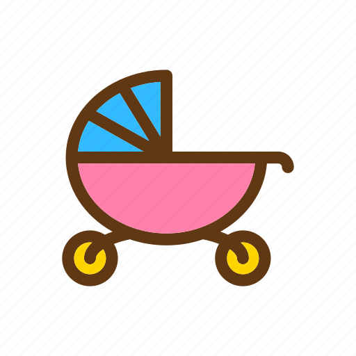 baby, color, stroller icon