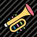 children, horn, instrument, music, trumpet