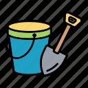 bucket, fun, sand, shovel, toy