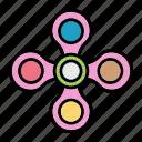 children, fidget, spin, spinner, toy icon
