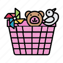 baby, basket, toy