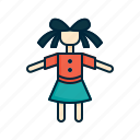 baby, doll, girl, toy icon