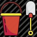 bucket, child, kid, plastic, play, shovel, toys