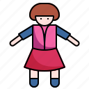 baby, baby doll, child, doll, girl, play, toy icon