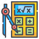 education, compute, maths, technology, calculator, calculating, school icon