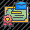 certificate, degree, diploma, education, graduation, patent, school icon