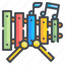 education, instrument, kindergarten, music, percussion, toy, xylophone icon