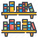 book, bookshelf, furniture, library, school, shelf, storage icon