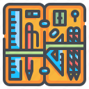 case, education, box, pencil, stationery, eraser, ruler icon