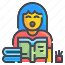 study, education, girl, reading, book, learning, student icon