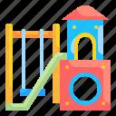 childhood, kid, kindergarten, playground, recreation, slide, swing