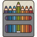 box, artist, pencils, drawing, color icon