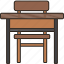 desk, chair, school, study, classroom icon