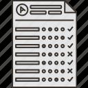 choice, sheet, grade, exam, answer icon