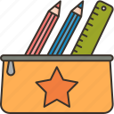student, case, ruler, pencil, stationery icon