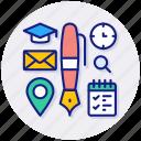 education, tools, calender, graduation, hat, mail, location