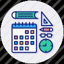 learn, calendar, clock, month, project, plan, schedule