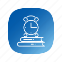 alarm, books, clock, school icon