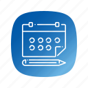 calendar, pen, schedule, school icon